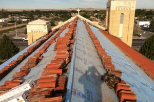Commercial roof replacement on church